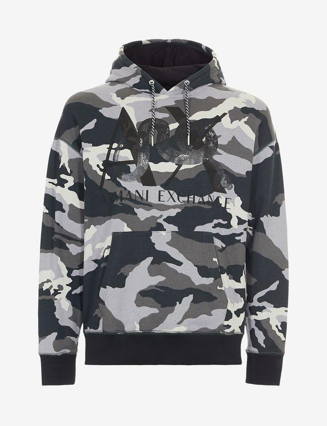 Felpa uomo ARMANI EXCHANGE camouflage con cappuccio