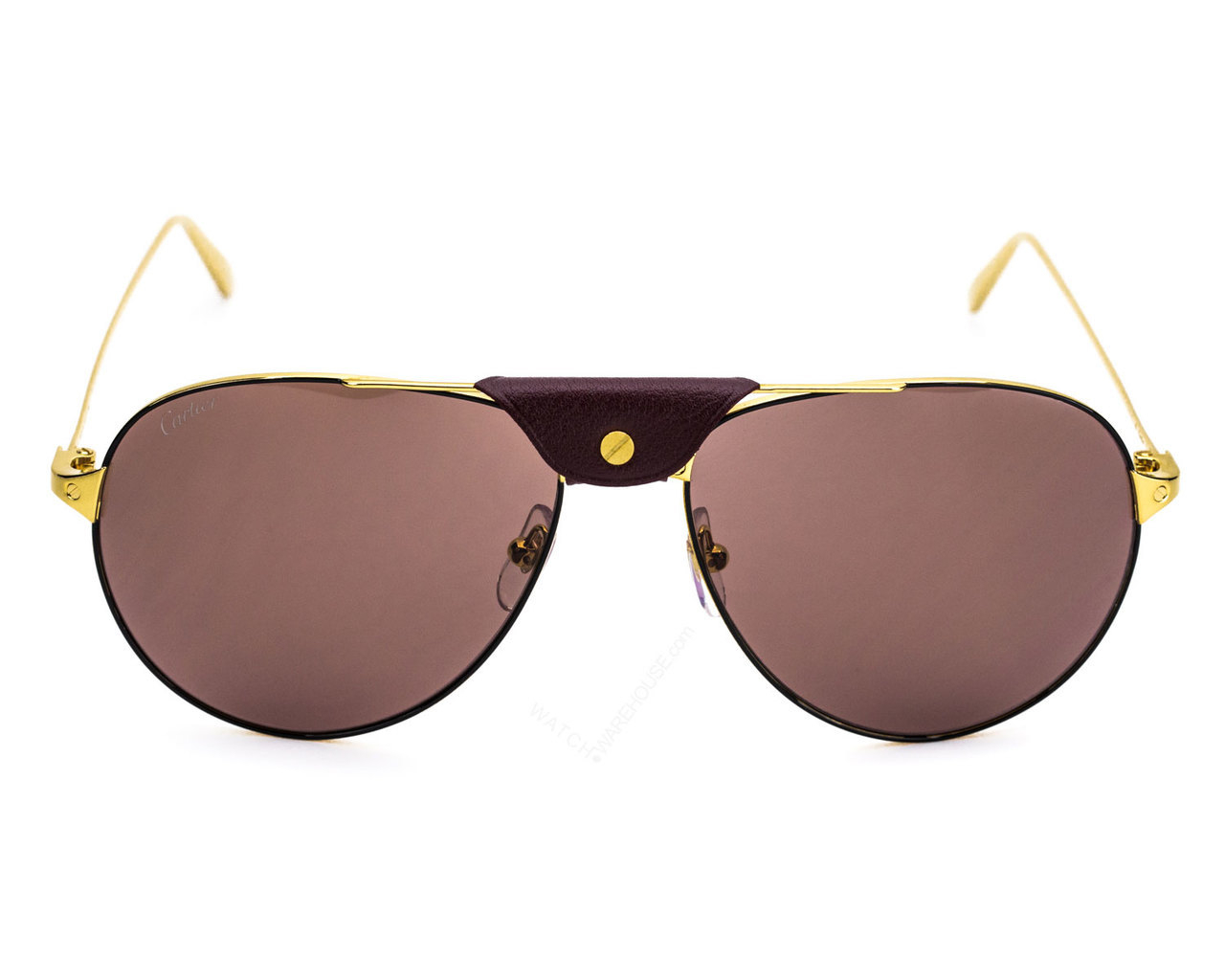 Cartier - Occhiale da Sole Unisex, Santos Black Aviator/Burgundy Shaded CT0038S 006  C61
