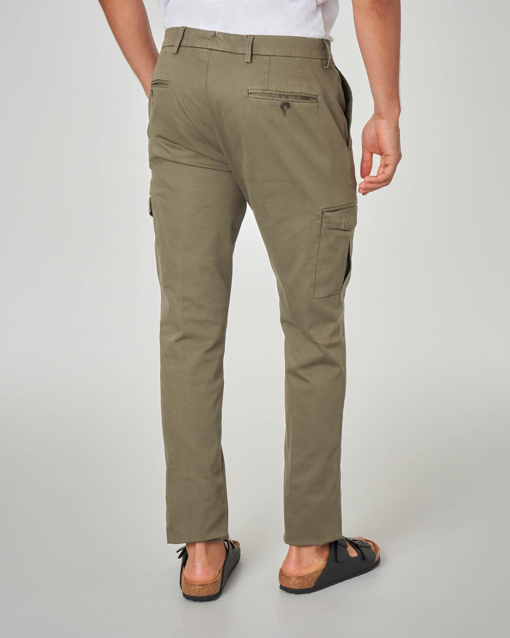 Pantalone verde militare tasconato