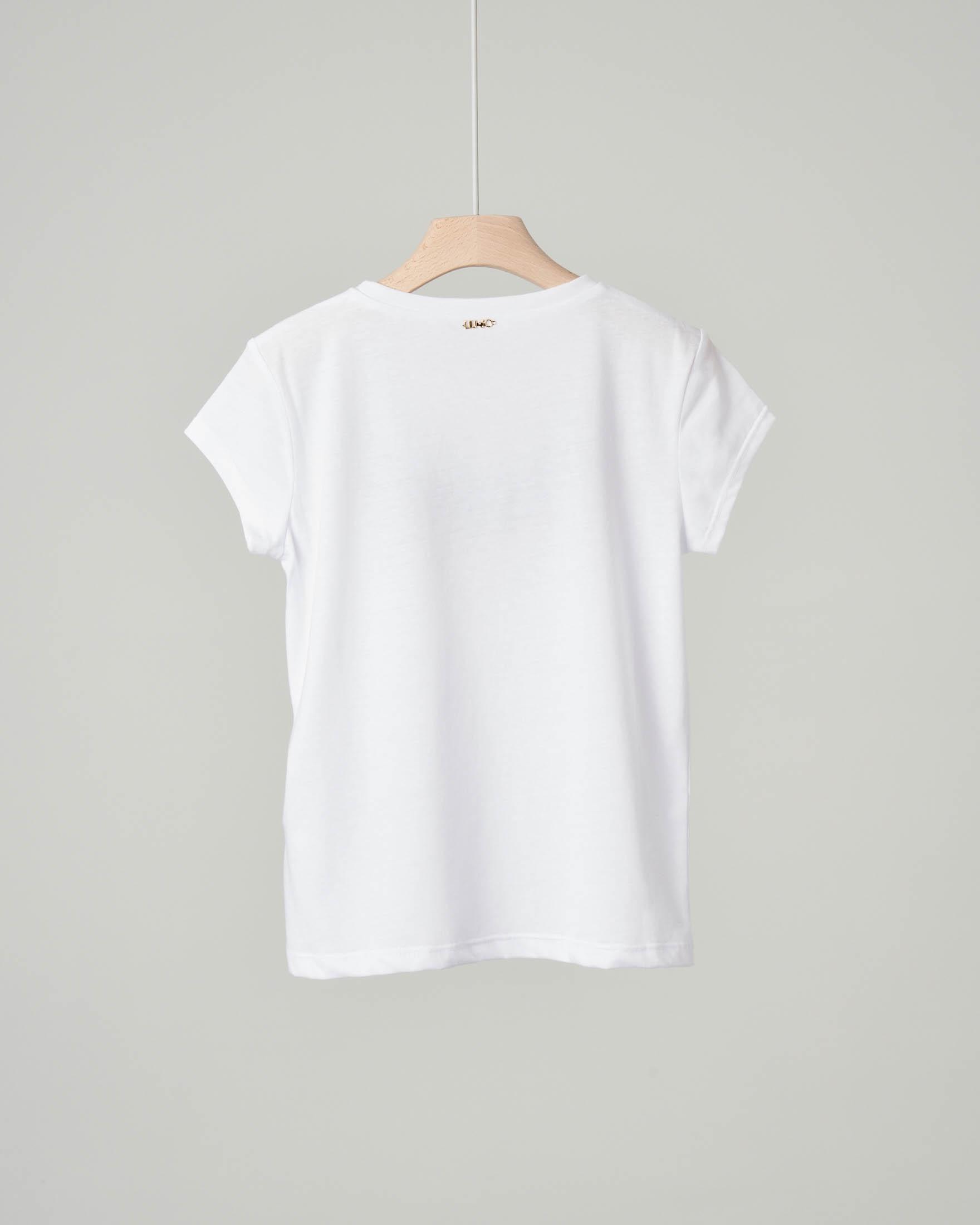 0ae91ab1ffe1ae T-shirt bianca in misto cotone con stampa piume grigie e rosa con strass  applicati · Liu Jo