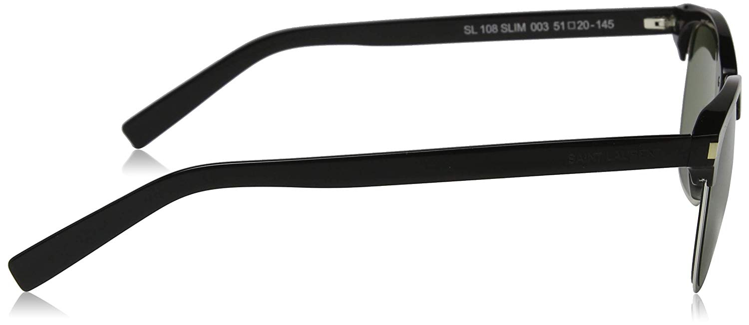 Yves Saint Laurent - Occhiale da Sole Unisex, SL 108 Slim, Shiny Black and Silver/Green Shaded 003  C51