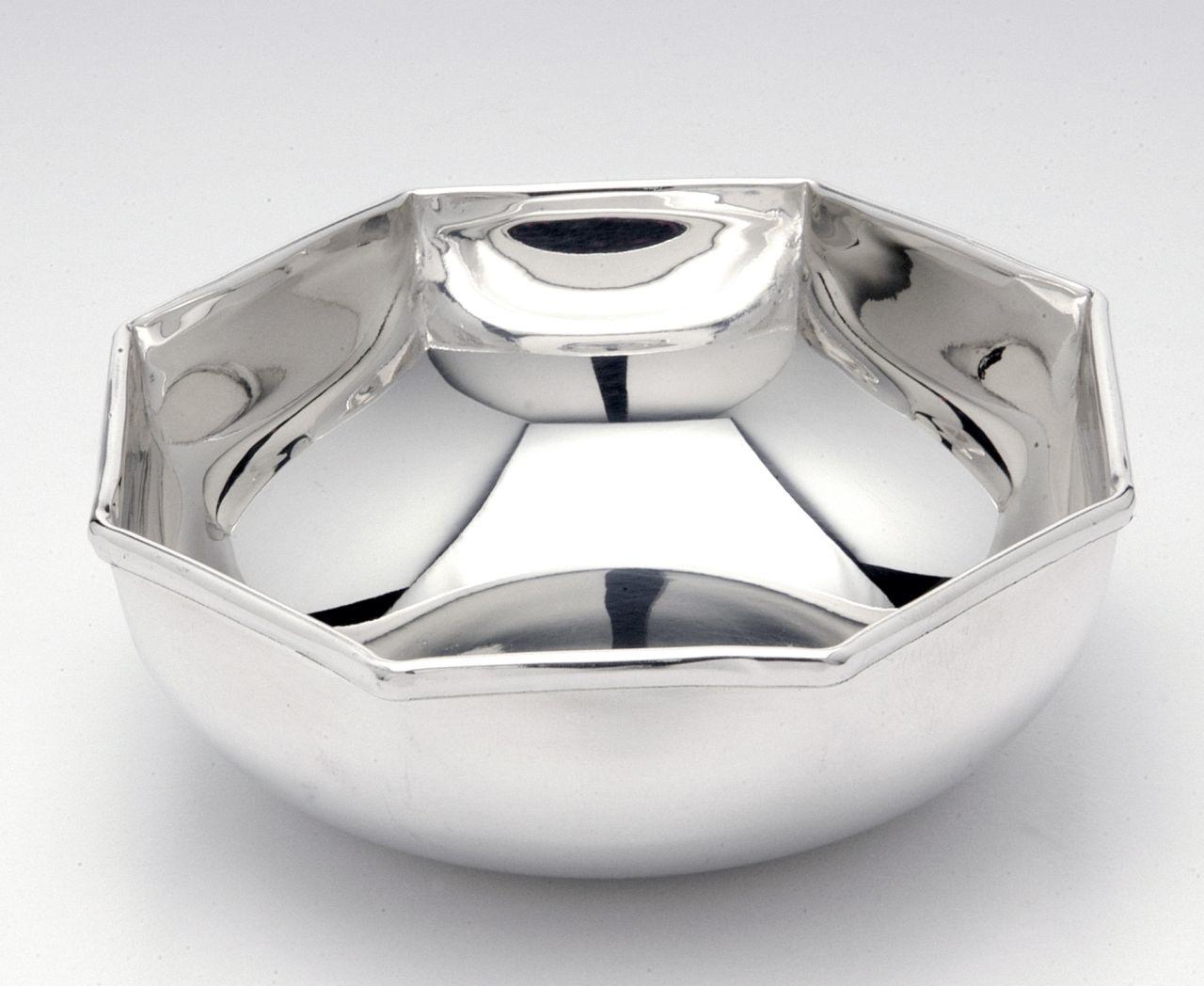 Ciotola placcata argento stile Ottagonale cm.4,5h diam.14