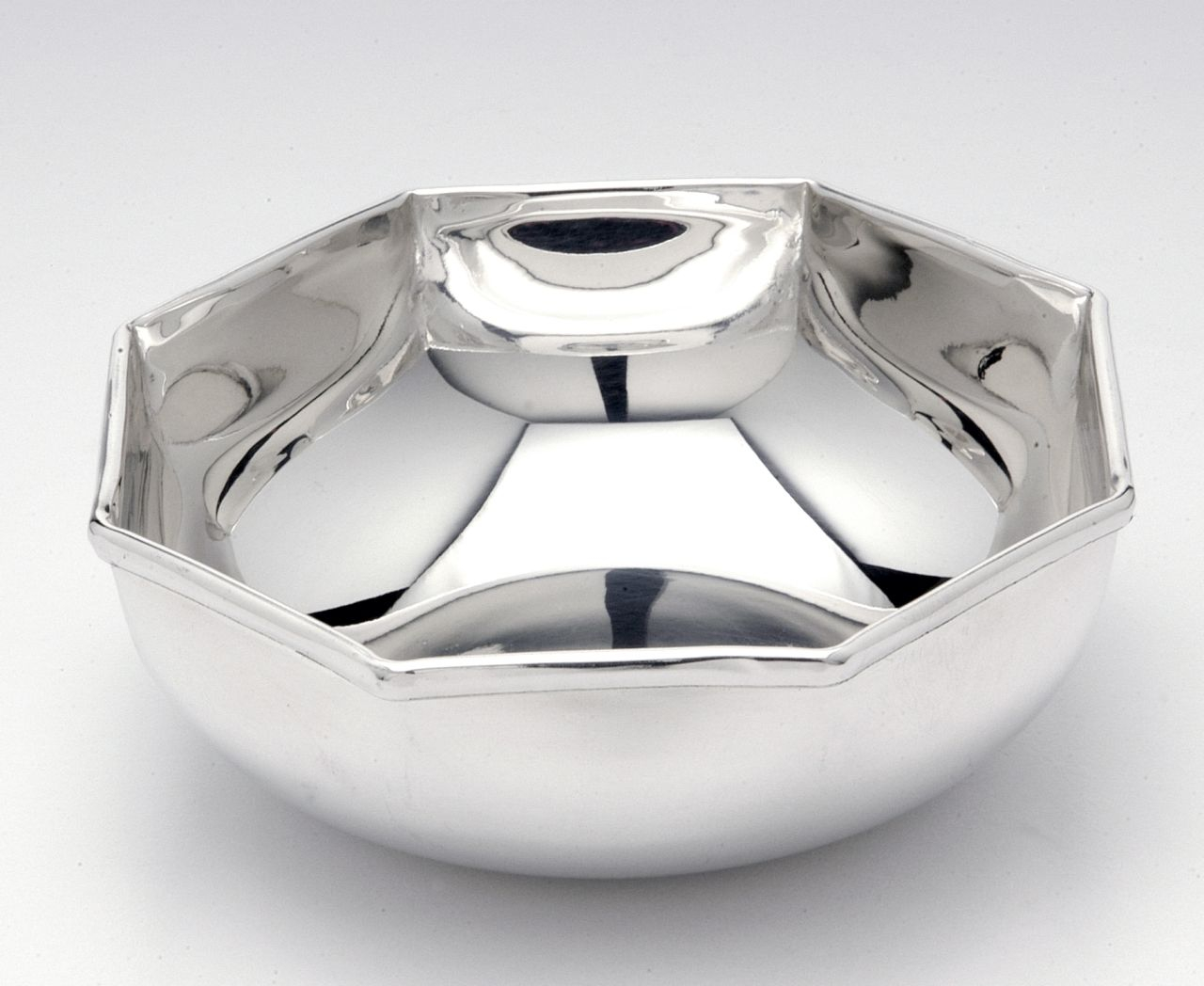 Ciotola placcata argento stile Ottagonale cm.7h diam.26