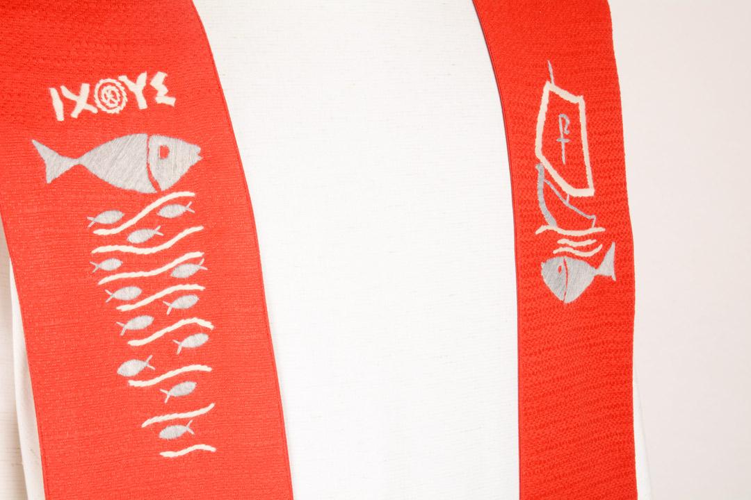 Stola S62 M2 Rossa - Seta Jacquard