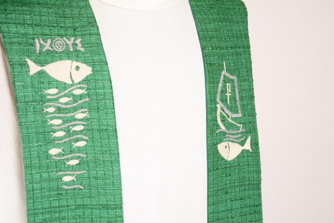 Stola S62 M2 Verde - Seta Greggia Quadri