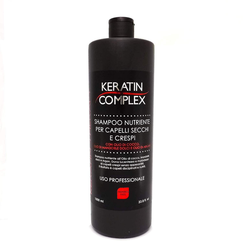 Keratin Complex Shampoo nutriente per capelli secchi e crespi, con olio di cocco, olio di mandorle dolci e olio di argan 1000ml