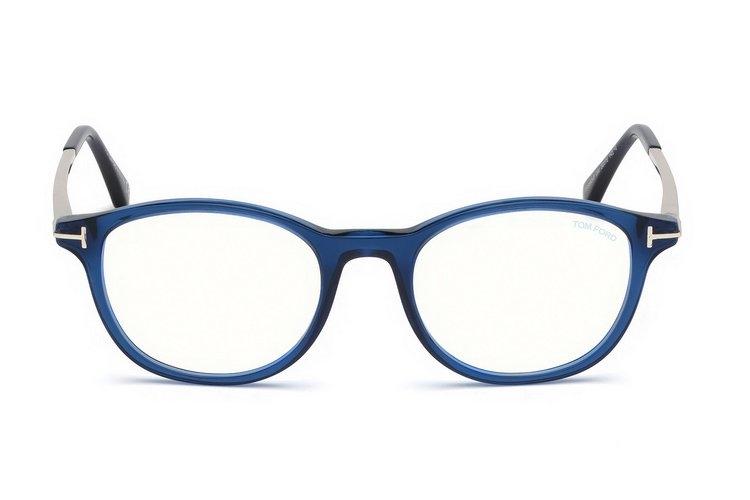 Tom Ford - Occhiale da Vista Uomo, BLUE BLOCK, Shiny Blue  FT5553-B  (090)  C52