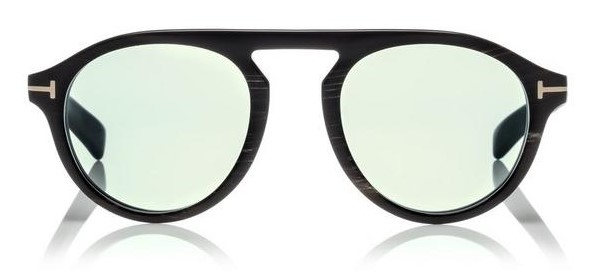 Tom Ford - Private Collection - Occhiale da Sole Unisex, TOM N.9, Matte Black Horn/Light Blue Shaded  FT5441-P  (62N)  C49