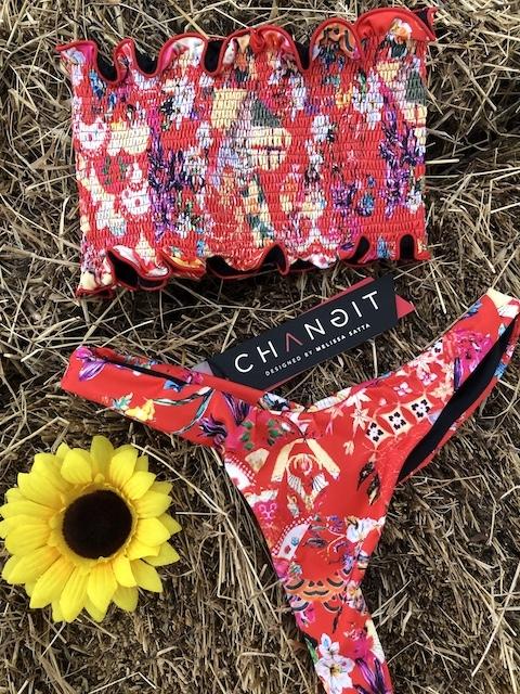 Bikini top e slip fianco Multiflower Changit Taglia S