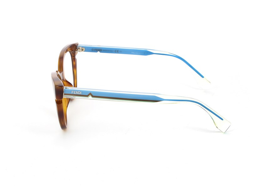 Fendi - Occhiale da Vista Donna, Havana - Crystal Blue, FF 0134 N9D  C50
