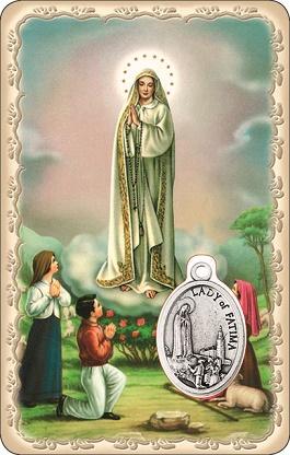 Tesserina con medaglia Fatima