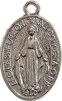 Medaglia Madonna Miracolosa metallo argentato grande