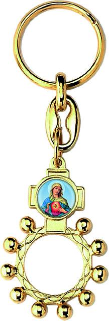 Portachiavi rosario basco metallo dorato