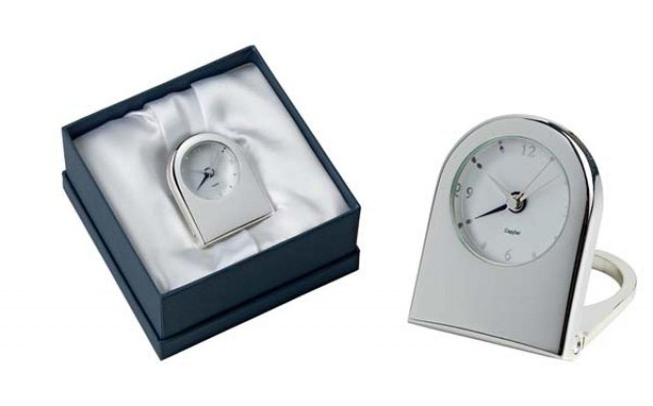 Sveglia orologio da viaggio in silver plated