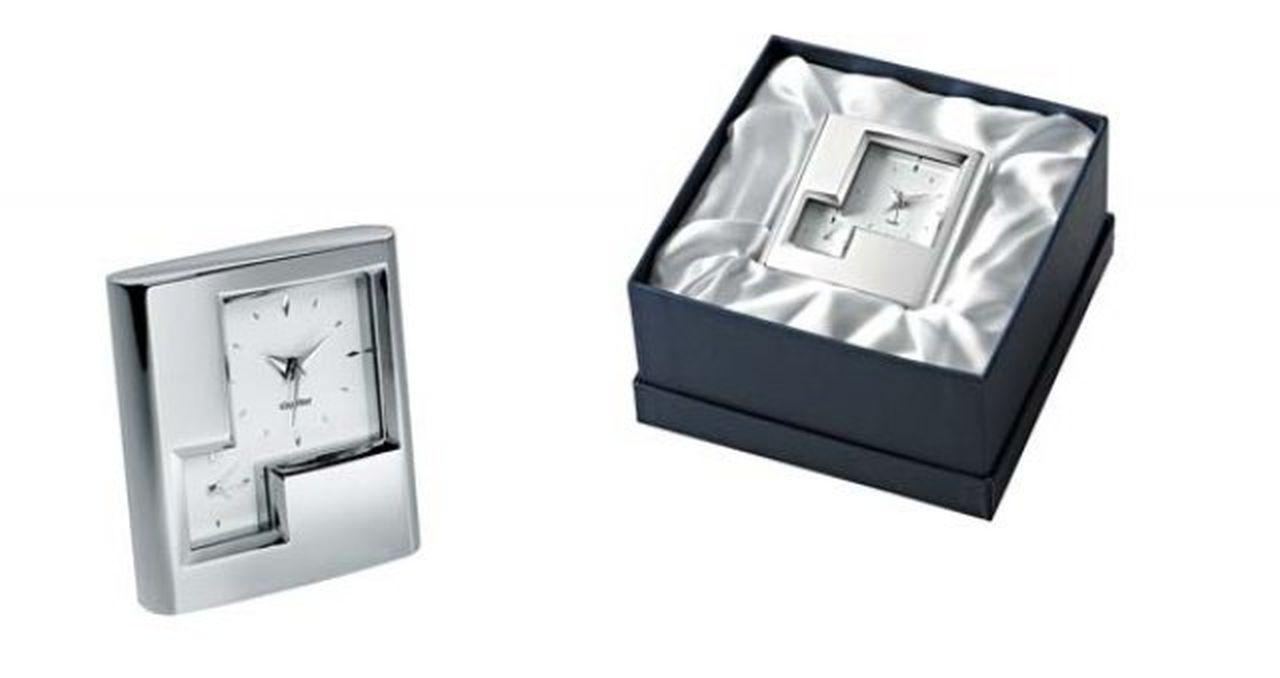 Sveglia due fusi in silver plated cm.7x2x7,5h