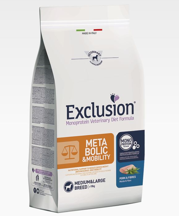 EXCLUSION METABOLIC E MOBILITY MONOPROTEIN MAIALE E FIBRE MEDIUM&LARGE BREED