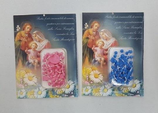 Benedizione Sacra Famiglia con rosario plastica