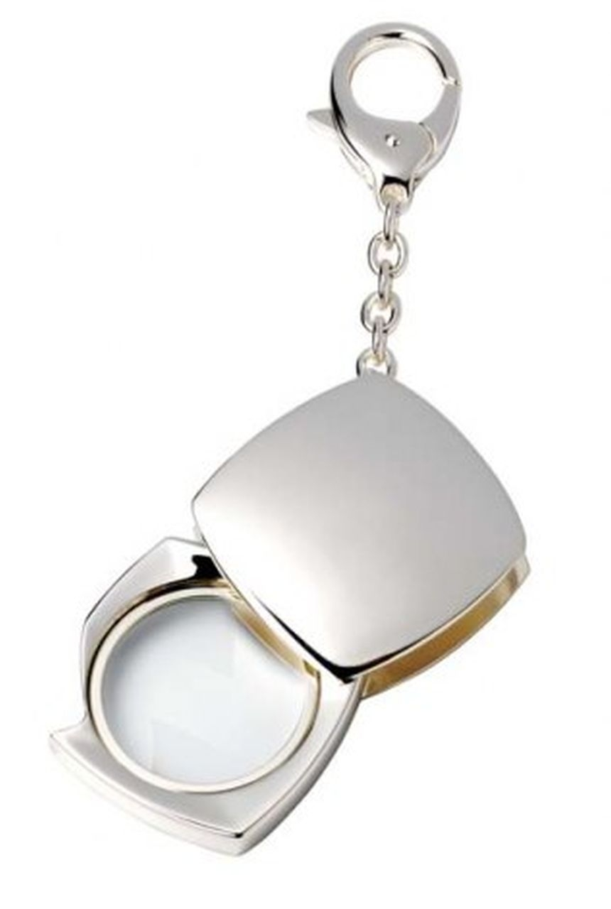 Portachiavi con lente silver plated
