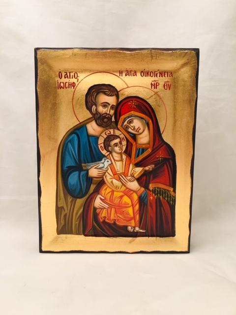 Icona Sacra Famiglia  greca dipinta cm.16x21