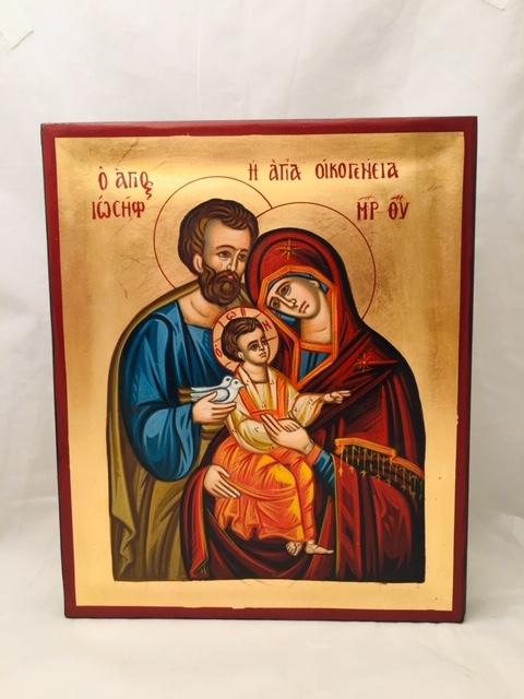 Icona Sacra Famiglia  greca dipinta cm.25x30