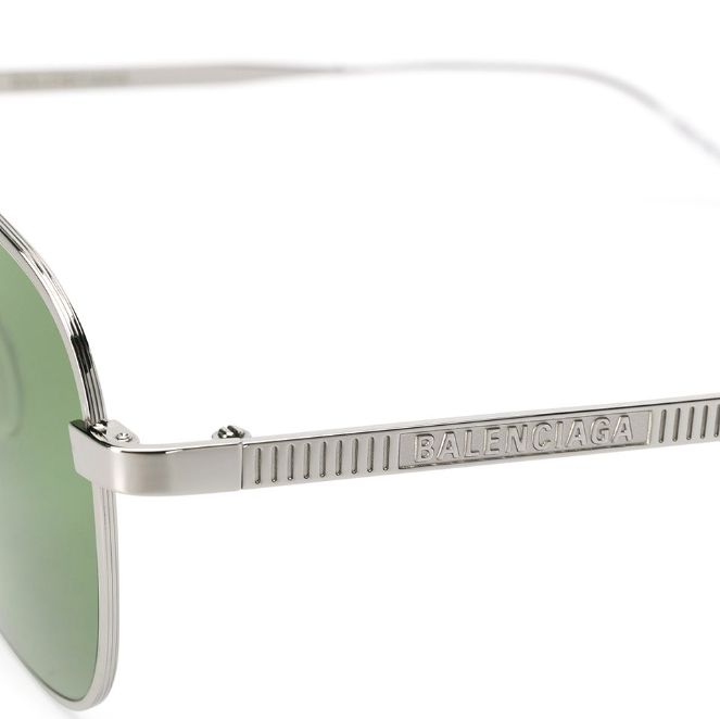 Balenciaga - Occhiale da Sole Unisex, Silver/Green Shaded  BB0037S-002  C55