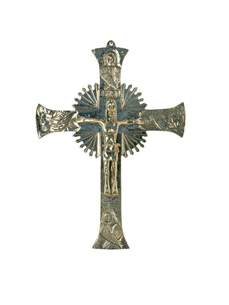 Croce da muro in ottone