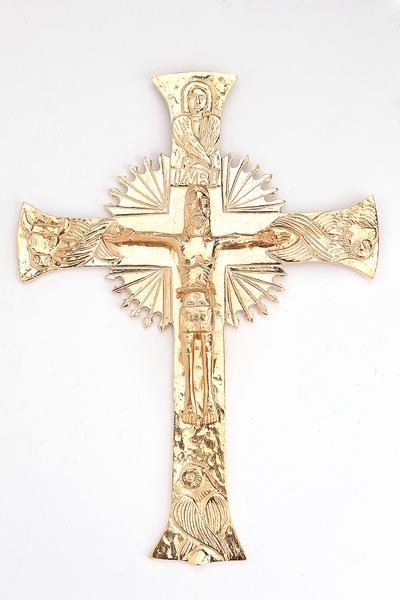 Croce da muro in ottone dorato