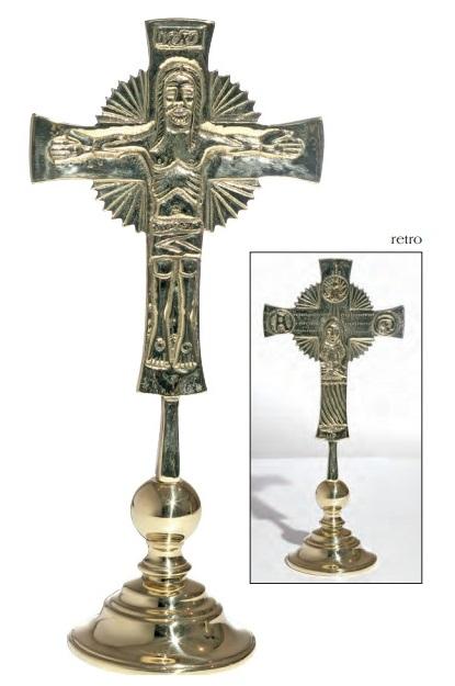 Croce Neocatecumenale da tavolo in ottone dorato