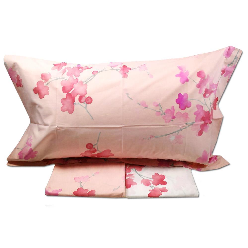 cf3da2d8dd Lenzuola matrimoniale effetto-copriletto MIRABELLO PESCO in FIORE rosa