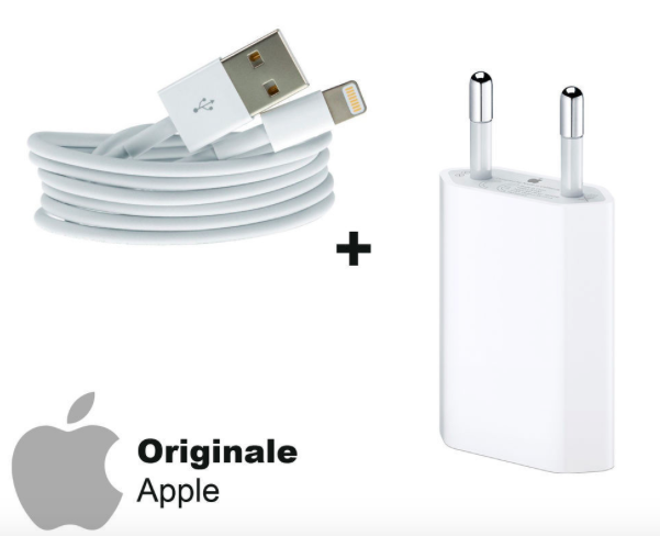 Cavo originale apple iphone + caricatore originale apple iphone x iphone 5/6/7/8