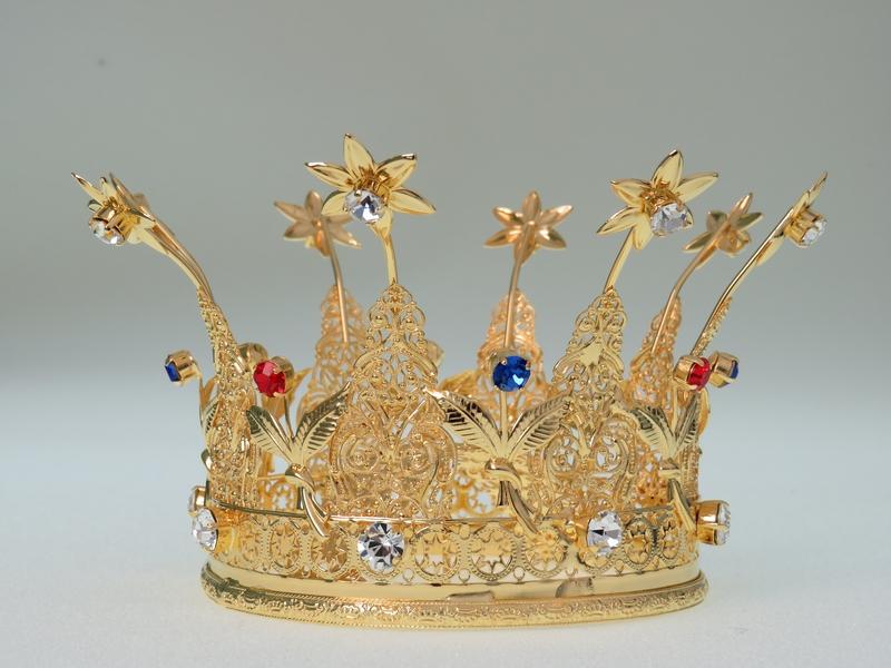 Corona Reale Ø 10 in ottone dorato 24k