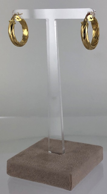 ORECCHINI A CERCHIO IN CANNA VUOTA TORCHON SATINATO E LUCIDO ORO 18 KT DIAMETRO 2.00 CM