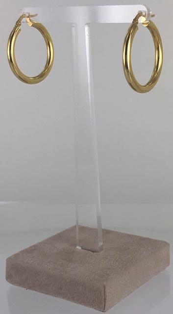 ORECCHINI A CERCHIO IN CANNA VUOTA LUCIDA ORO 18 KT  DIAMETRO 2.50 CM