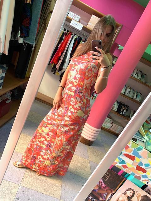 Vestito lungo Multiflower in lurex Changit