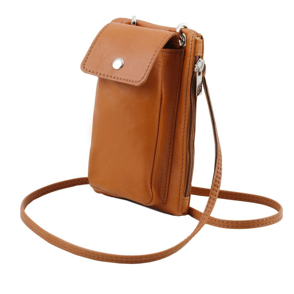 Tuscany Leather TL141423 TL Bag - Tracollina Portacellulare in pelle morbida Cognac