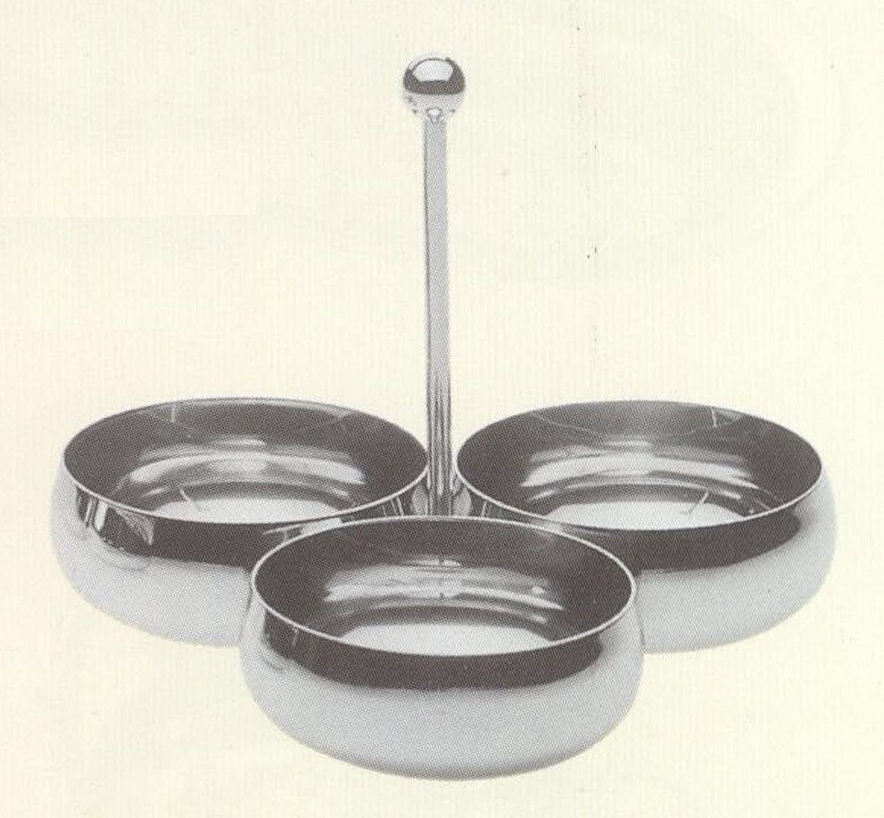 Portasalatini in acciaio placcato argento cm.19x19h