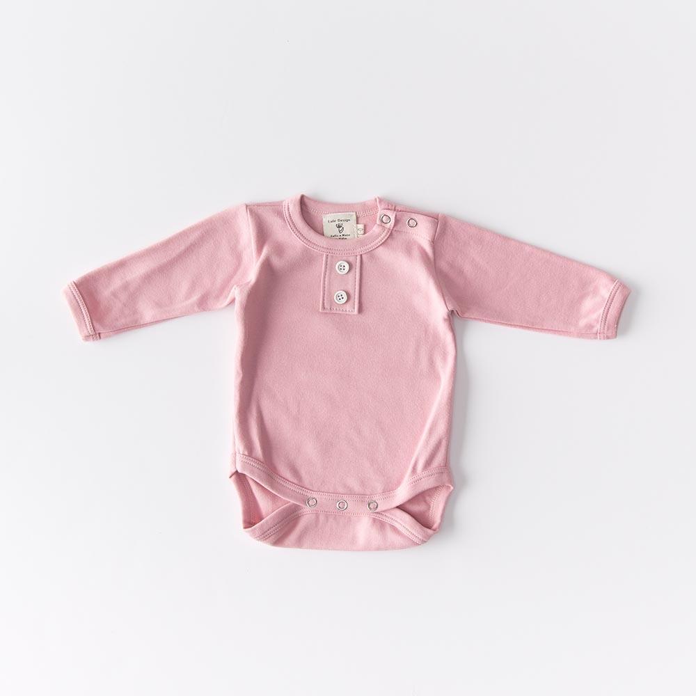 Body manica lunga in cotone doppio bio color rosa