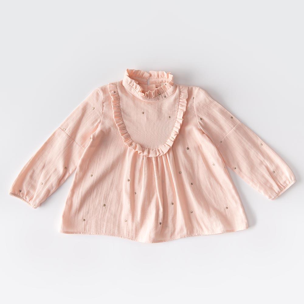 Blusa rosa in mussola di cotone con pois ricamati in filo dorato