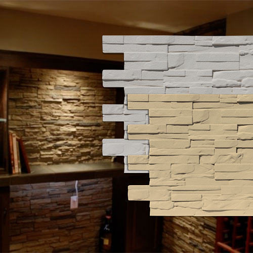 Faux decorative modern stone wall panels
