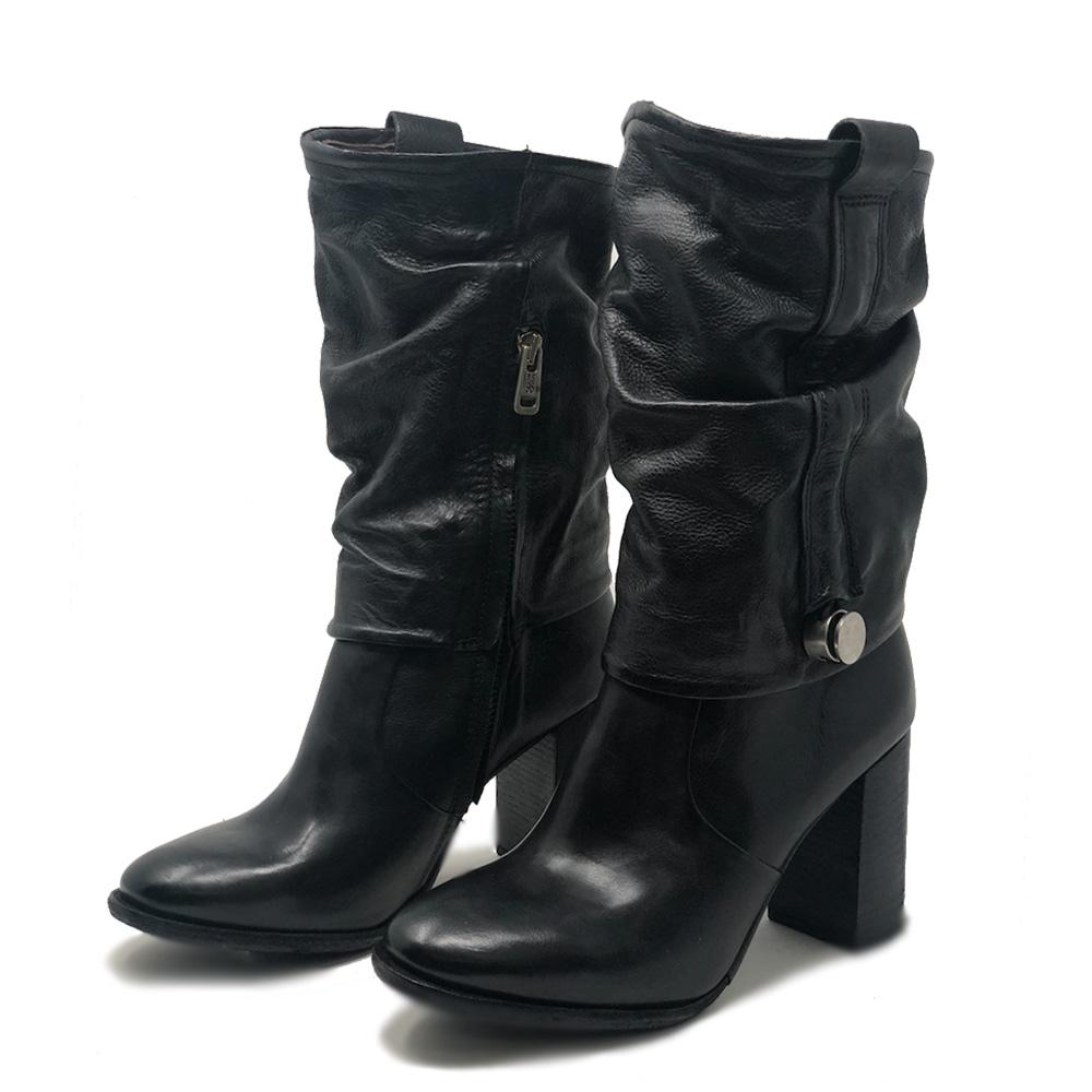 Stivali con tacco in pelle nera con cerniere laterali - A.S.98