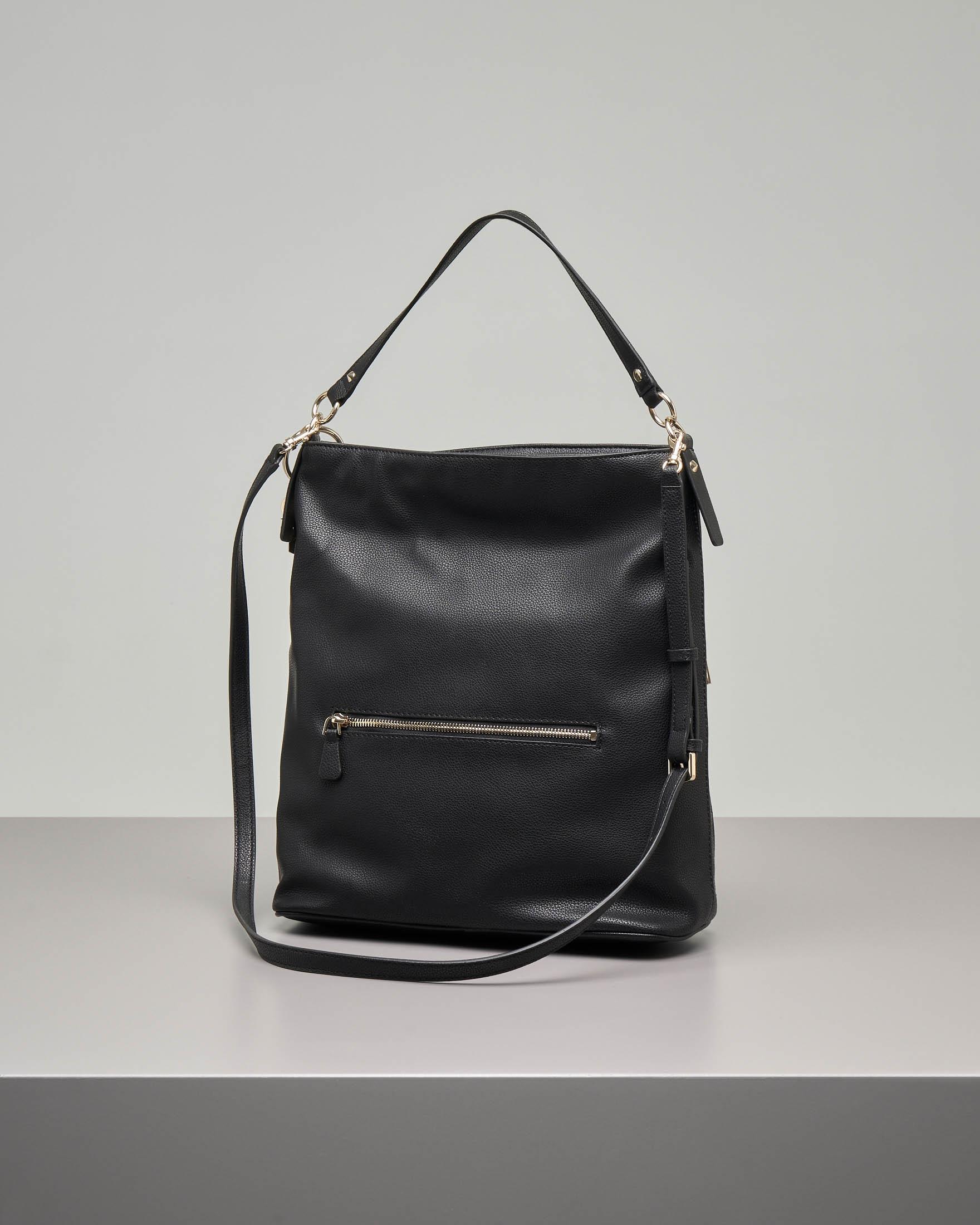 Nuovi Prodotti 376aa 77f2c Shopping bag a sacca nera in ecopelle con tracolla staccabile   Pellizzari  E-commerce