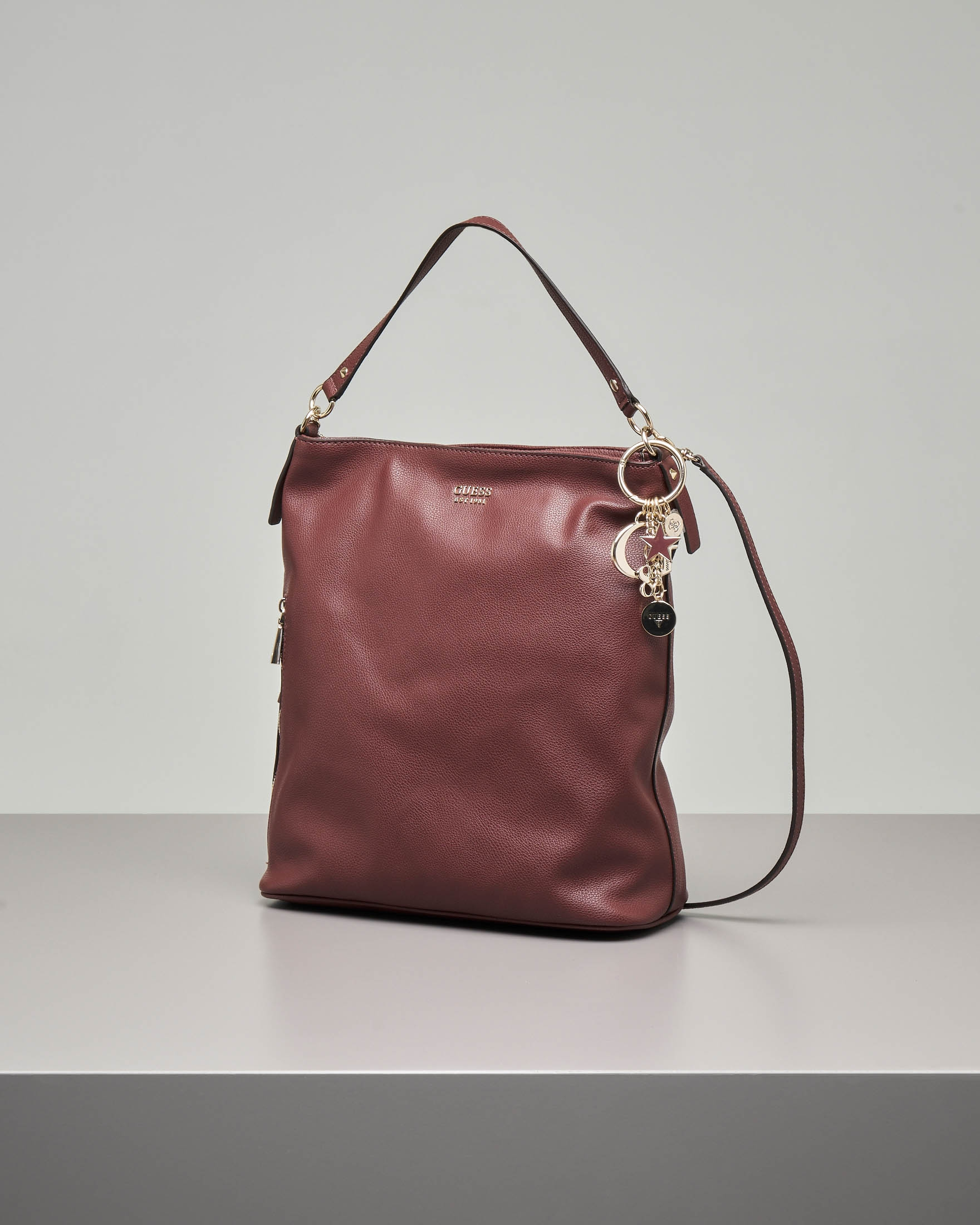 Shopping bag a sacca bordeaux in ecopelle con tracolla staccabile