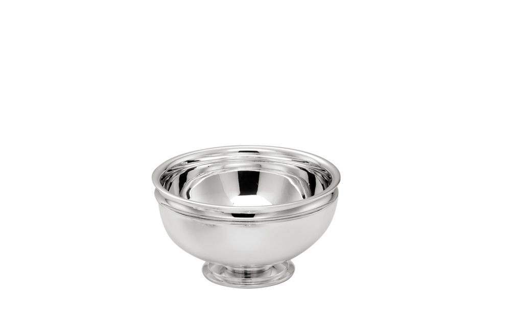 Alzata tonda con base argentata argento stile Cardinale cm.8h diam.10