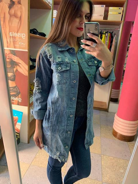 Giacca lunga jeans con strappi