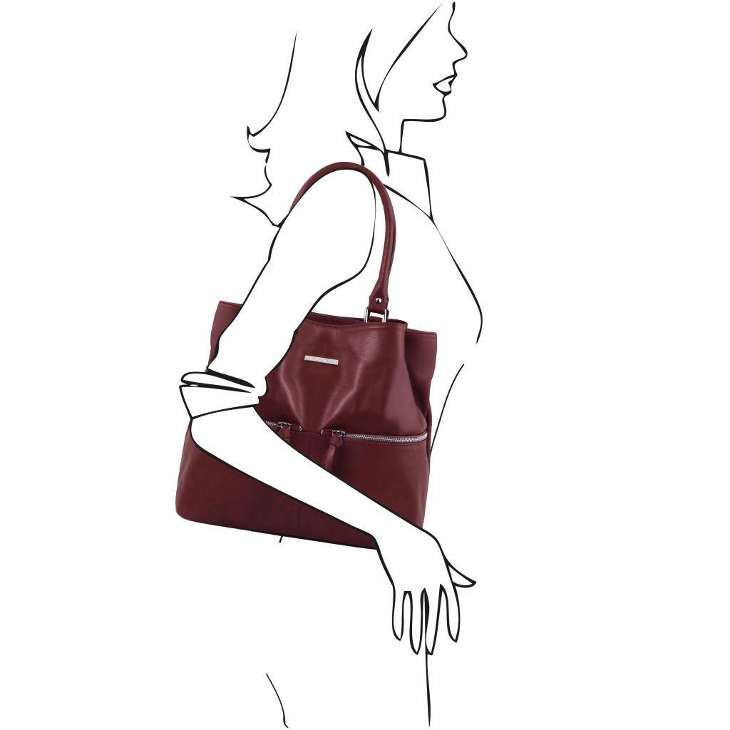 Tuscany Leather TL141722 TL Bag - Borsa a spalla in pelle con tasche frontali Bordeaux