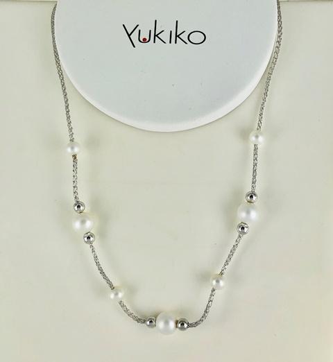 Girocollo In Argento 925 Yukiko Con Perle  E  Boule In Argento Lucido