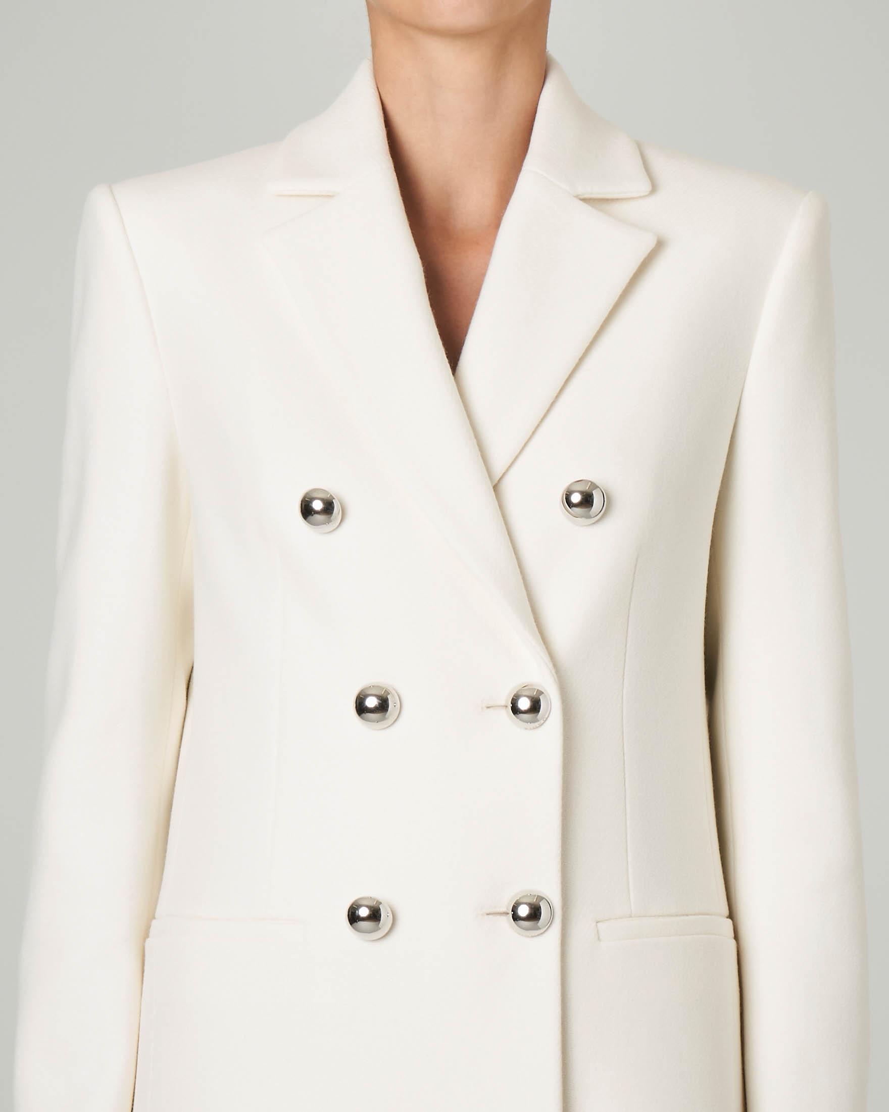Cappotto bianco doppiopetto con bottoni a specchio | Pellizzari E commerce