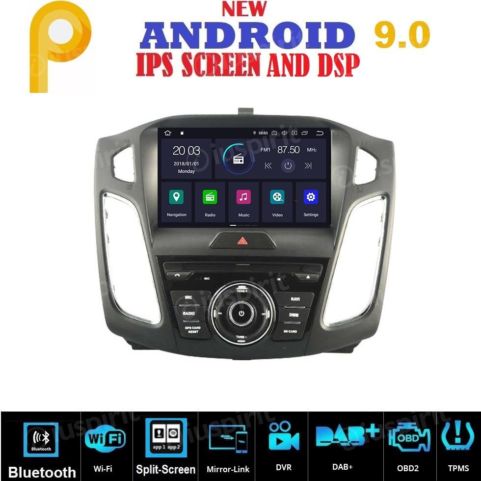 ANDROID 9.0 autoradio navigatore per Ford Focus 2015-2017 GPS DVD WI-FI Bluetooth MirrorLink