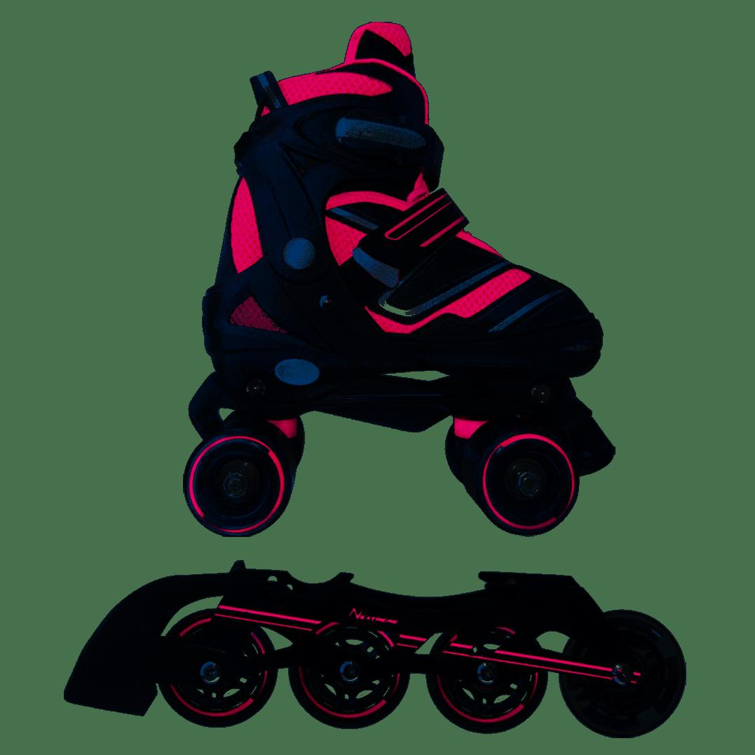 Nextreme - Pattini a rotelle trasformabili in pattini in linea 2in1 REVERSE verde lime