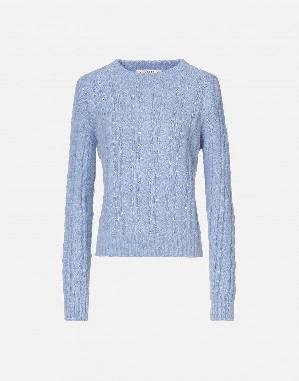 pullover in lana e alpaca con strass